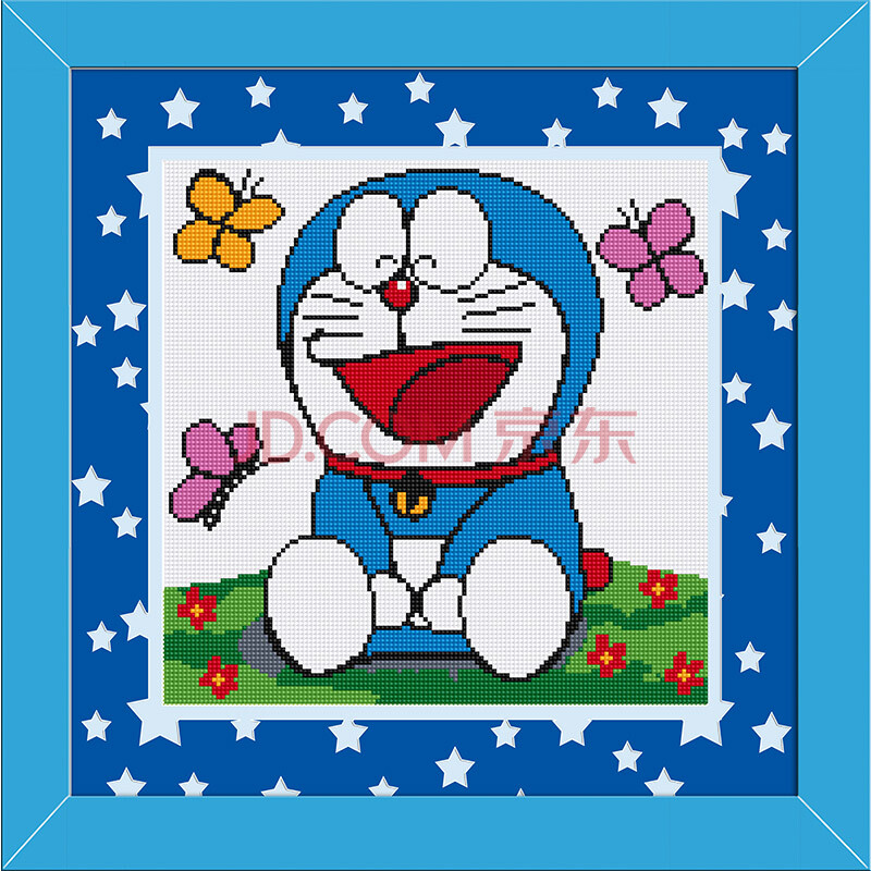钟爱一生diy钻石画方钻满钻多啦a梦开心机器猫可爱卡通卧室挂画钻石绣