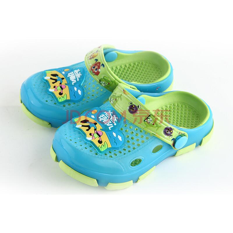 童鞋 男女 凉拖 儿童洞洞鞋 夏季凉鞋果冻鞋沙滩鞋儿童拖鞋 蓝色 28=