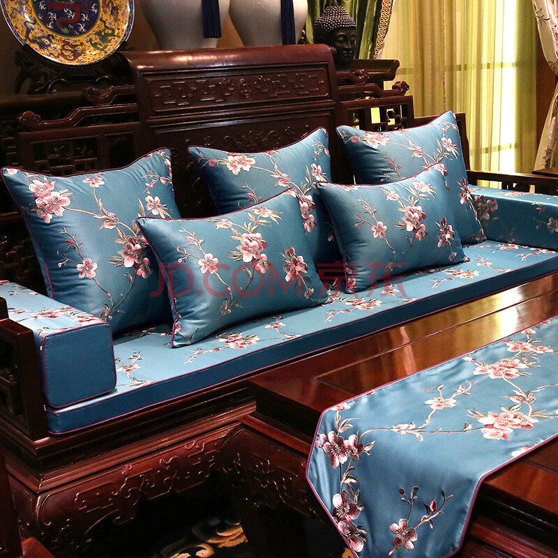 红木沙发坐垫 新中式家具海绵坐垫刺绣靠垫抱枕实木圈椅沙发坐垫 35x图片