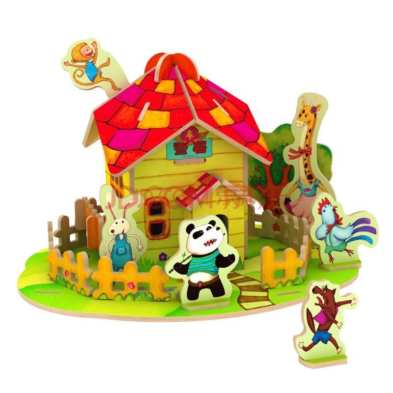 diy手工拼装制作模型 益智玩具礼物 幼儿园小屋房子故事书 f104森林