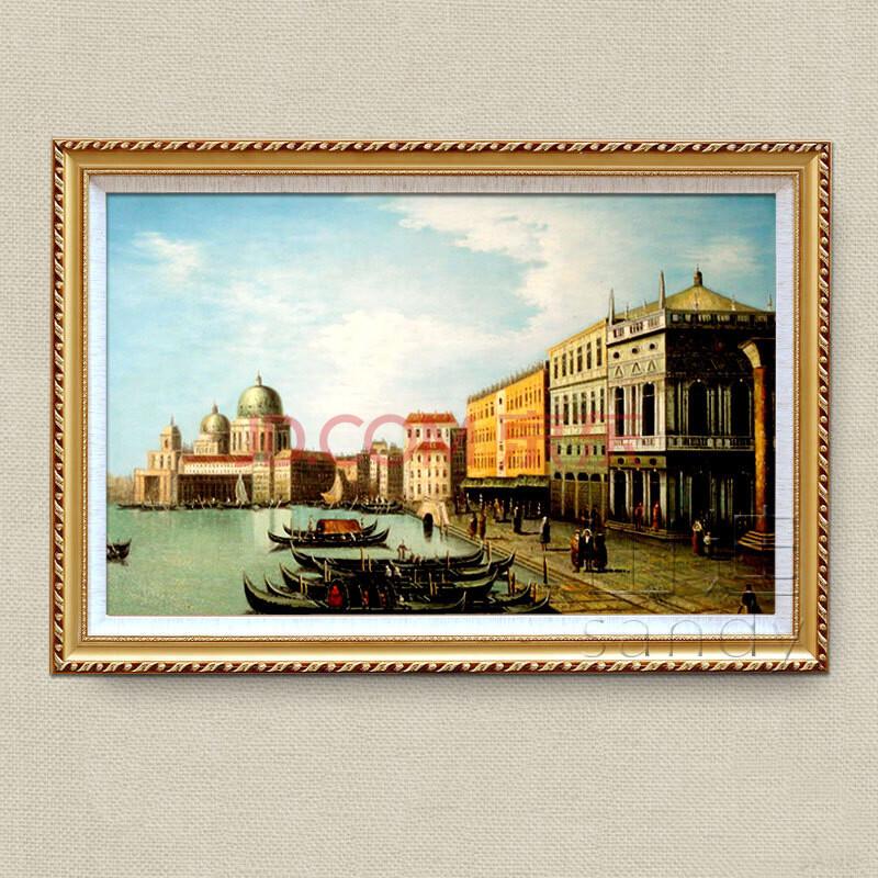 山迪 手绘油画客厅装饰画餐厅挂画墙画壁画欧式巴黎风景 威尼斯f 框10