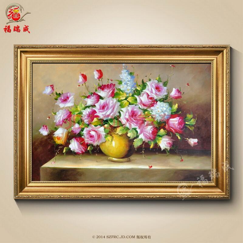 纯手绘油画欧式客厅装饰抽象风景壁画古典花卉餐厅挂图片