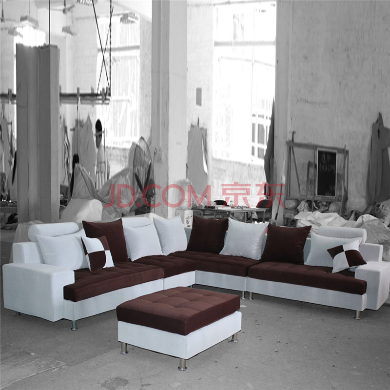 布莱尔斯 家具沙发 l型小户型客厅沙发 u型大户型布沙发 布艺沙发5件