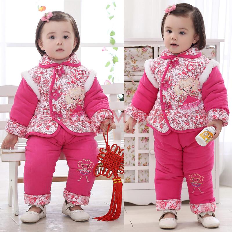 女童装冬装新款儿童唐装宝宝棉衣套装婴儿衣服周
