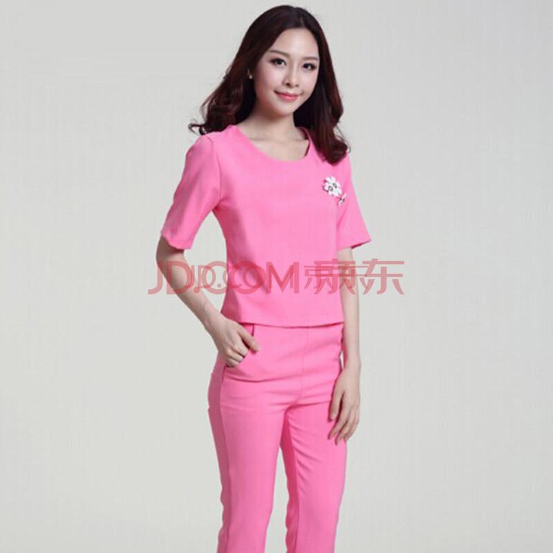 2014逞!o�K�:+�9�b_o帕2014夏装新款两件套运动时尚休闲套装名媛小香风套装女 粉红色 xl