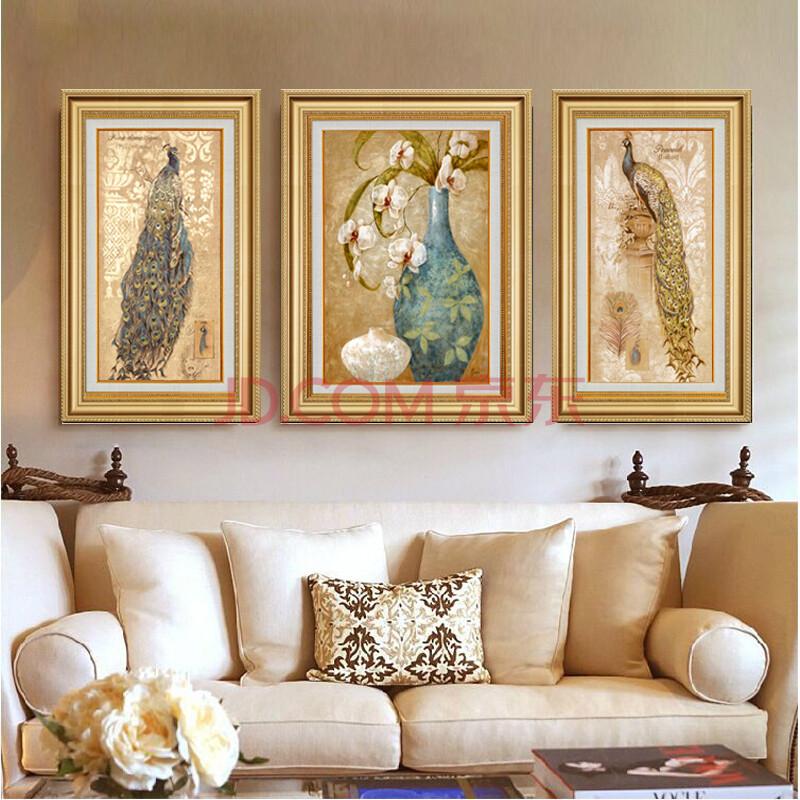 高档欧式美式客厅装饰画 餐厅玄关墙画壁画挂画三联 尊贵孔雀 平安图片