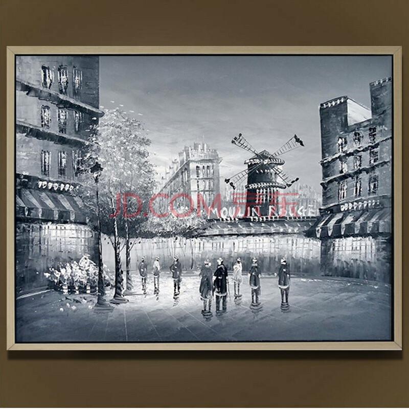 易美馨手绘黑白巴黎街景咖啡馆装饰画 欧式风景油画 家居客厅挂画玄关