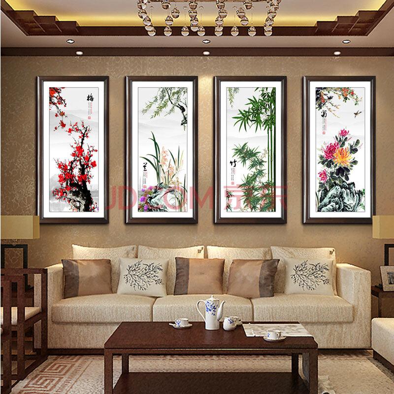 奇野 装饰画中式客厅壁画卧室餐厅书房办公室实木有框