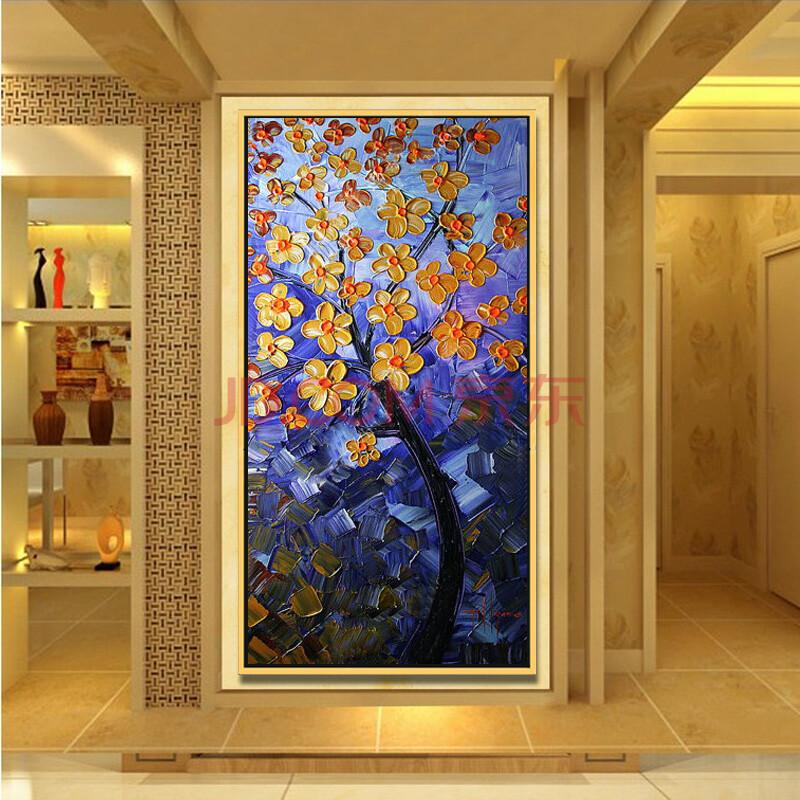 欧式玄关挂画现代家居油画走廊时尚装饰有框画 过道竖版抽象壁画招财图片