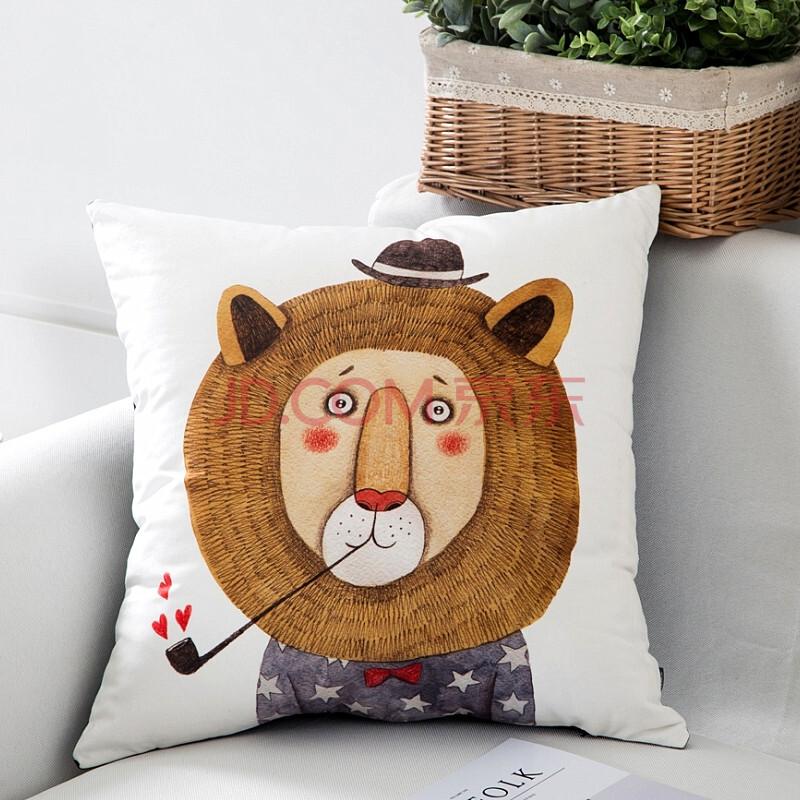 天鹅绒可爱北欧动物狮子熊猫抱枕大号床头沙发靠垫套靠枕靠背含芯
