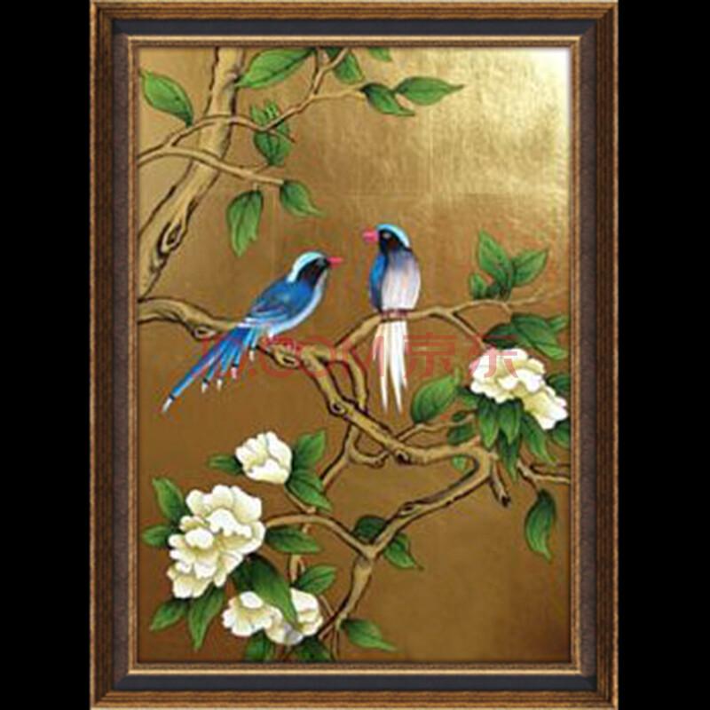 博艺佳 纯手绘油画 新中式花鸟油画 客厅沙发装饰画 工笔金箔画 c 65*
