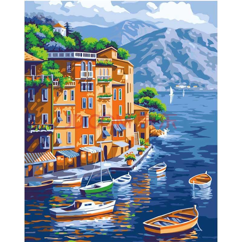 俊艺数字油画 风景花卉人物客厅情侣手绘装饰画40*50手绘装饰画 山水
