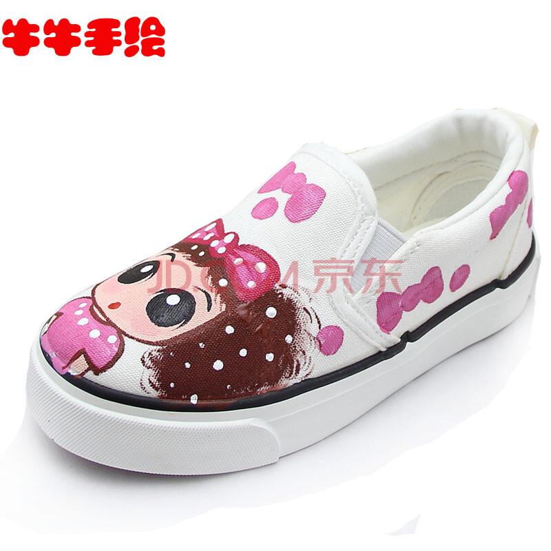 包邮鞋款牛牛手绘卡通懒人鞋 亲子帆布球鞋 套脚女童粉红色公主鞋