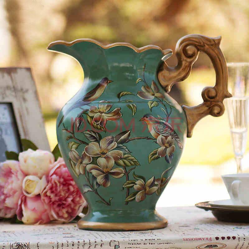 手绘花鸟图案大水笙陶瓷花瓶图片