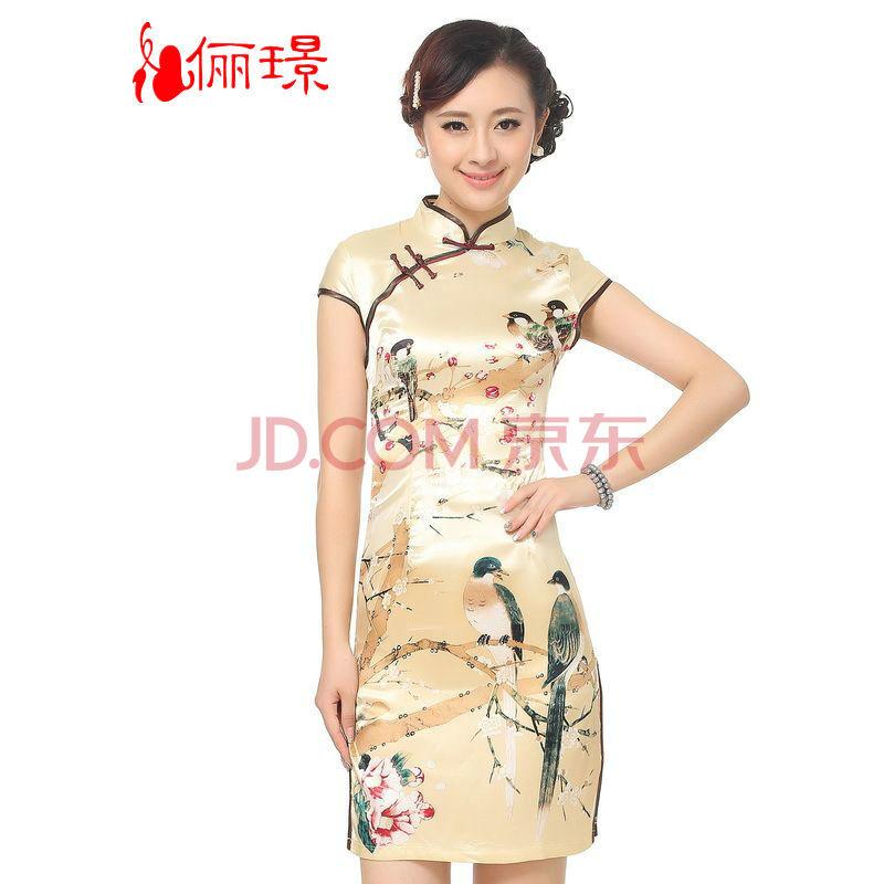 旗袍夏装改良复古连衣裙立领斜襟丝绸手绘中式
