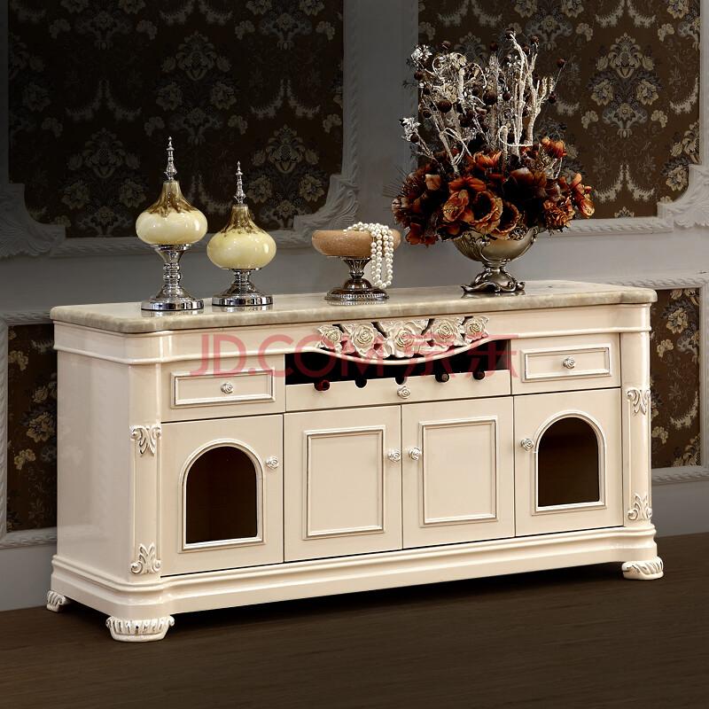 欧式餐边柜 烤漆餐厅家具储物柜小酒柜象牙白图片
