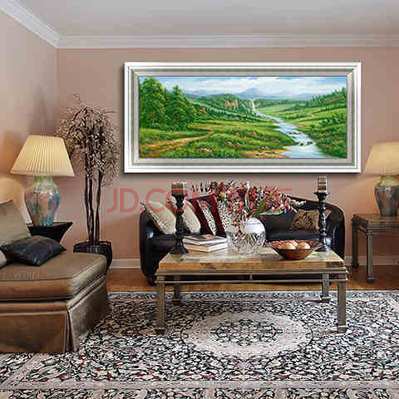 油画山水画风水画聚宝盆有框画风景画中式风景竹林 做旧银色欧式画框