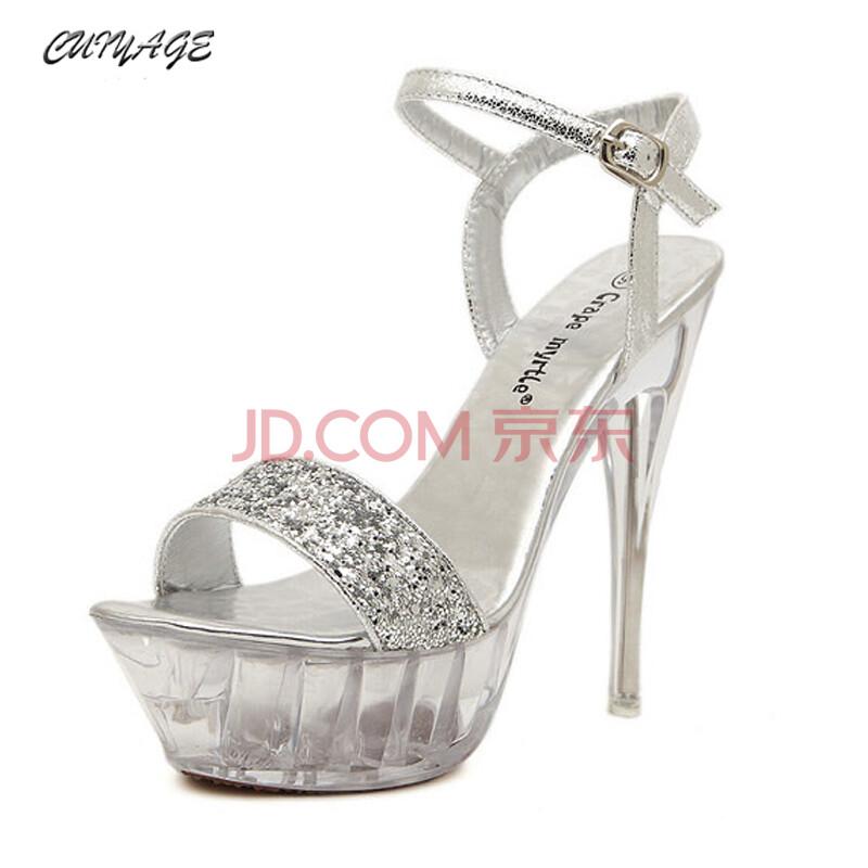 翠雅阁夏季新款凉鞋性感水晶鱼嘴鞋防水台细跟高跟鞋女鞋 银色 39