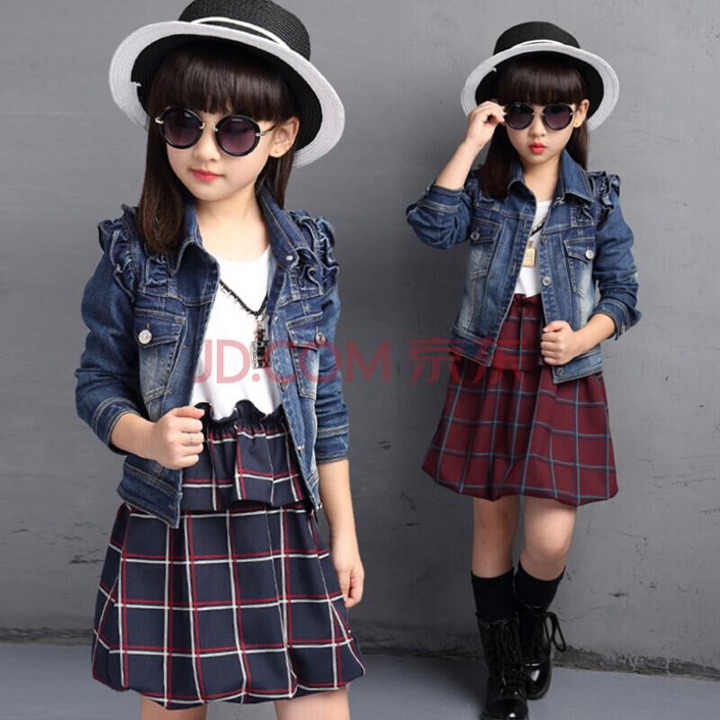 【代维熊】童装女童秋装2015新款套装儿童牛仔外套两