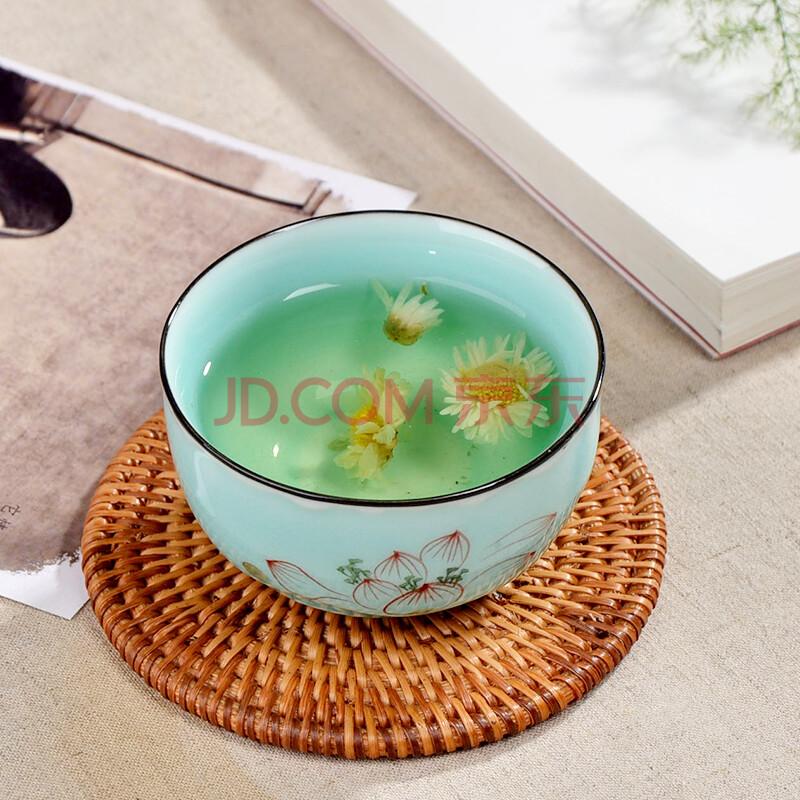 甲馨 功夫茶杯陶瓷品茗杯 莲韵青瓷手绘茶具小茶杯 青瓷手绘悦香杯