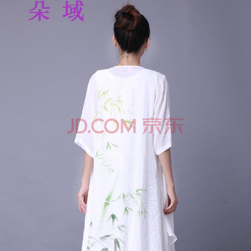 朵域2015夏季新款女装中国风手绘文艺宽松亚麻棉麻防晒开衫复古长衫60