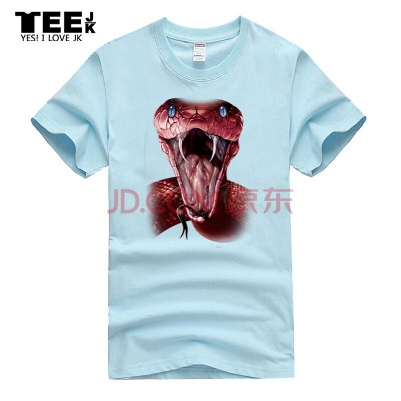 新款美国创意动物图案3dt恤男士短袖欧美经典曼巴蛇宽松时尚大码 天