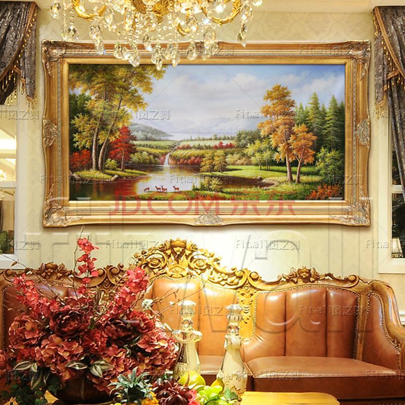 恒美纯手绘油画高档装饰画欧式山水风景聚宝盆五只小鹿国王河的春天