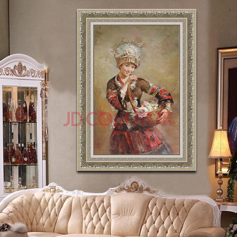 欧式手绘油画 苗女装饰画玄关卧室酒店壁画