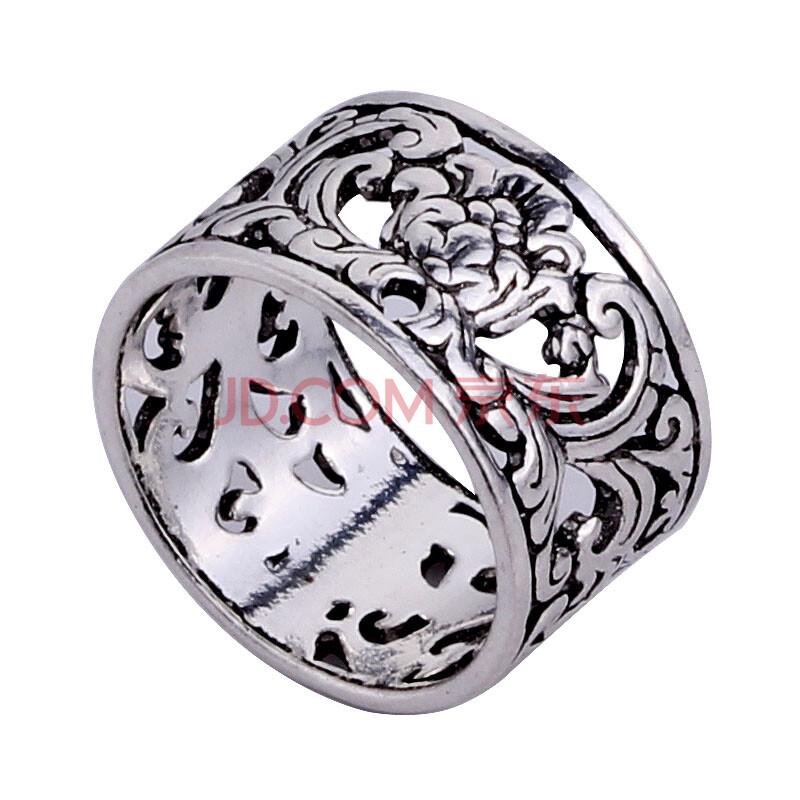 泰银925银纯银镂空花纹宽戒指指环-玉兰花