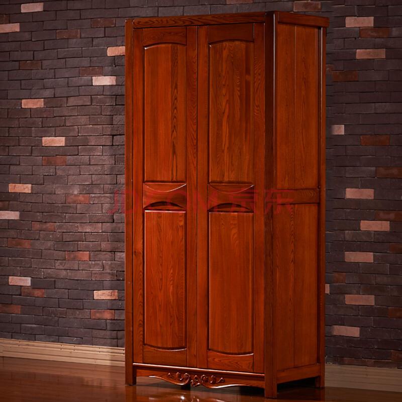 索格家具 实木衣柜 榆木衣柜 两门衣柜 卧室储物柜 置