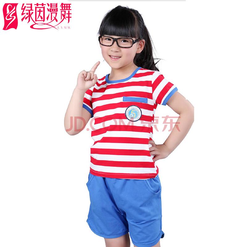 绿茵漫舞2014童装女夏装套装儿童徽章条纹短袖t恤