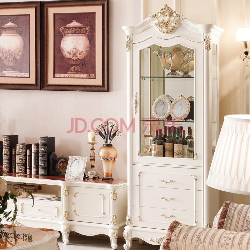 宝诗顿ao09 客厅酒柜 实木 欧式田园装饰柜 特价双门酒柜 奶白色 单门