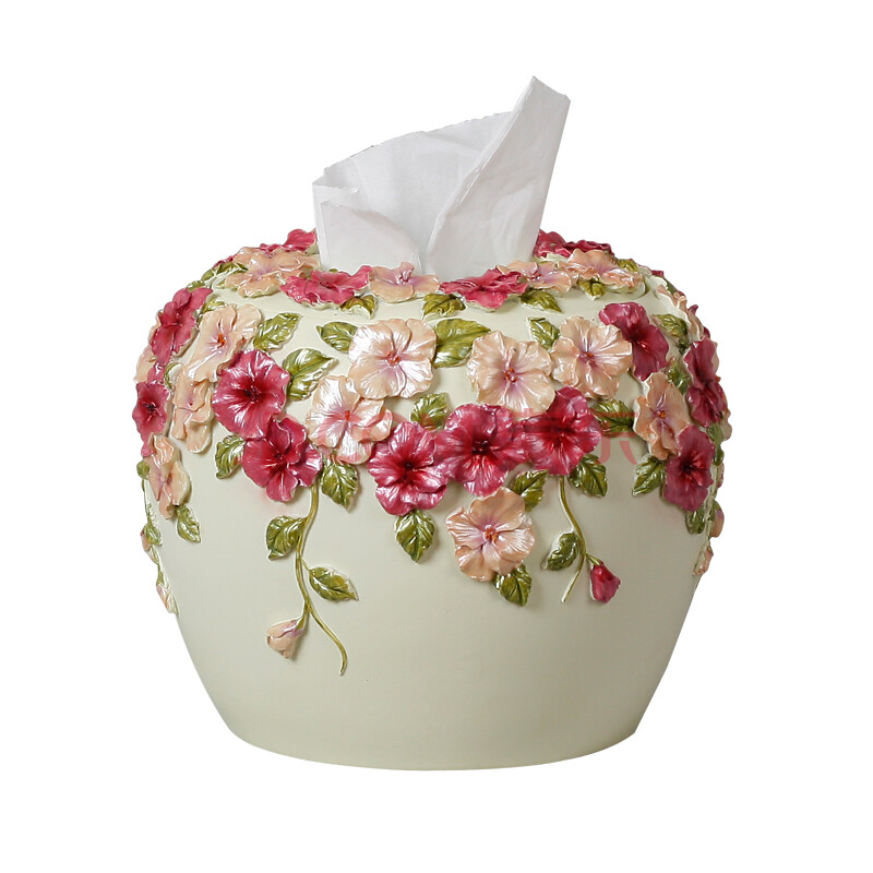 家居创意欧式手抽餐巾纸盒三色堇抽纸盒可爱餐巾盒 纸