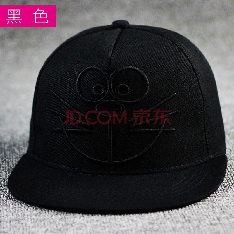 帽情侣棒球帽女机器猫帽子可爱卡通夏天平沿帽潮鸭舌帽男韩版 黑色 可