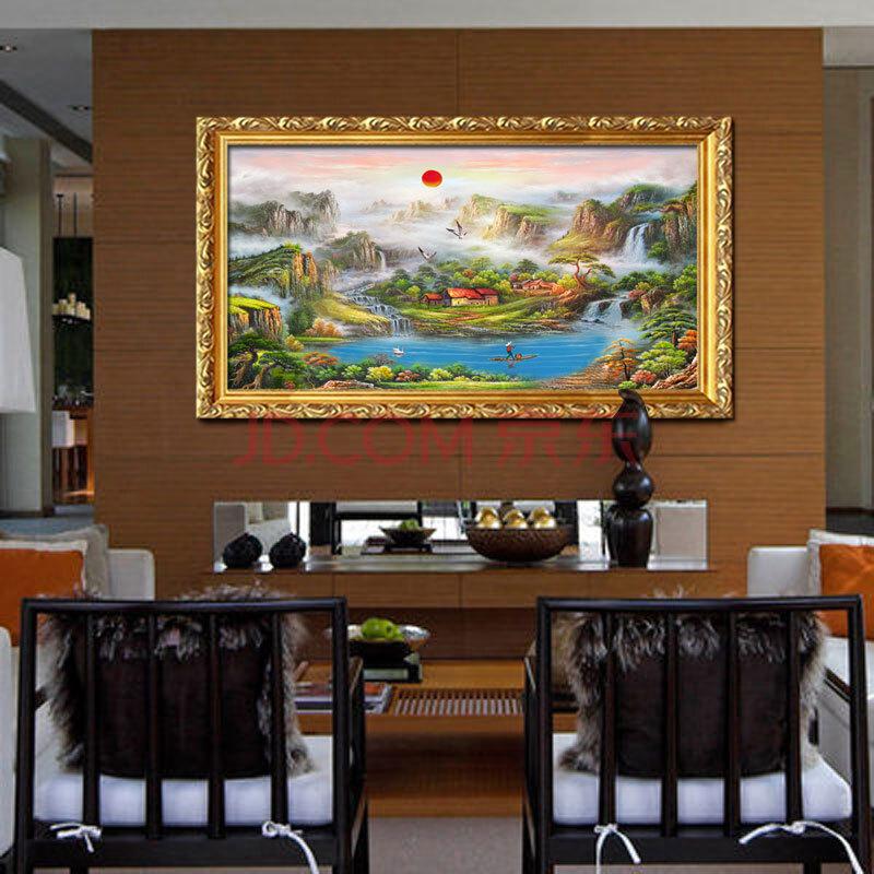 日康 手绘油画中式风景 客厅大厅沙发背景墙挂画 旭日