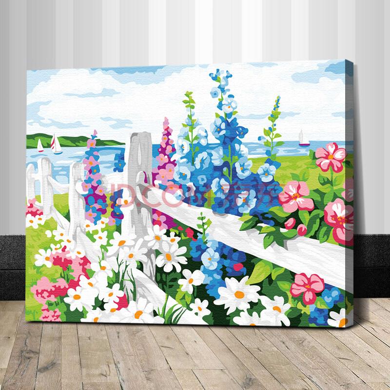 盛宝diy数字油画 风景花卉植物人物客厅情侣手绘装饰画 花海 40*50