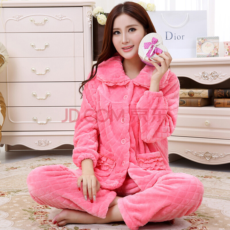 秋冬季新款女士卡通法兰绒睡衣长袖套装珊瑚绒睡衣女冬加厚可爱 粉红