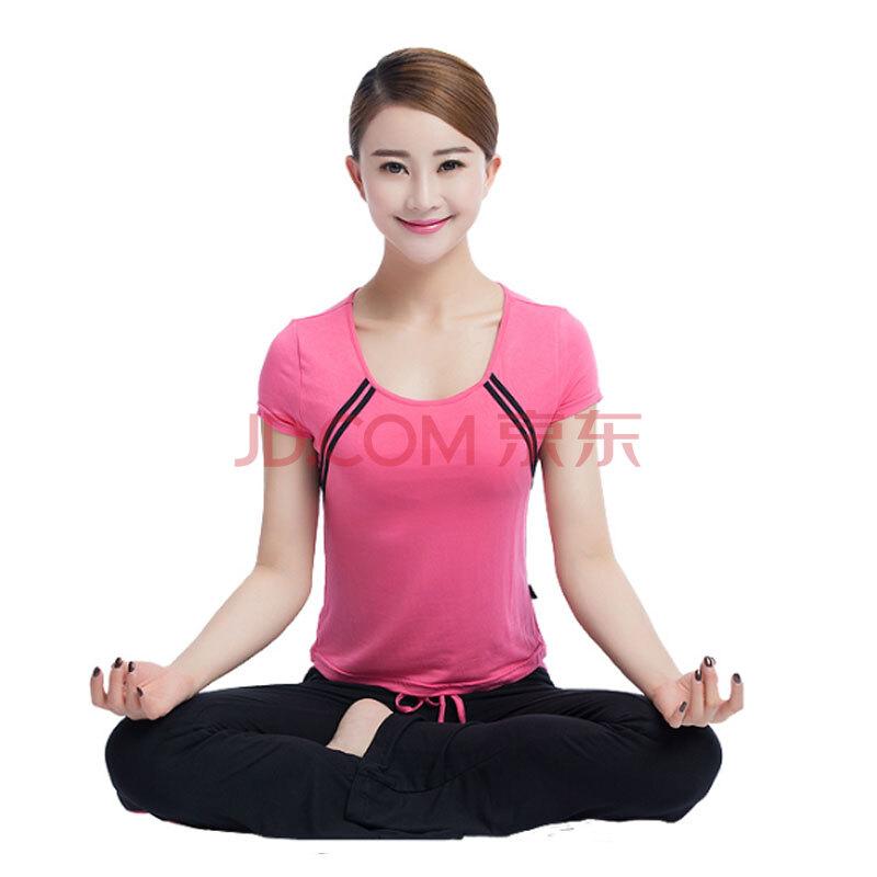 瑜伽服套装健身服舞蹈服女士春夏广场舞服装 玫瑰红色