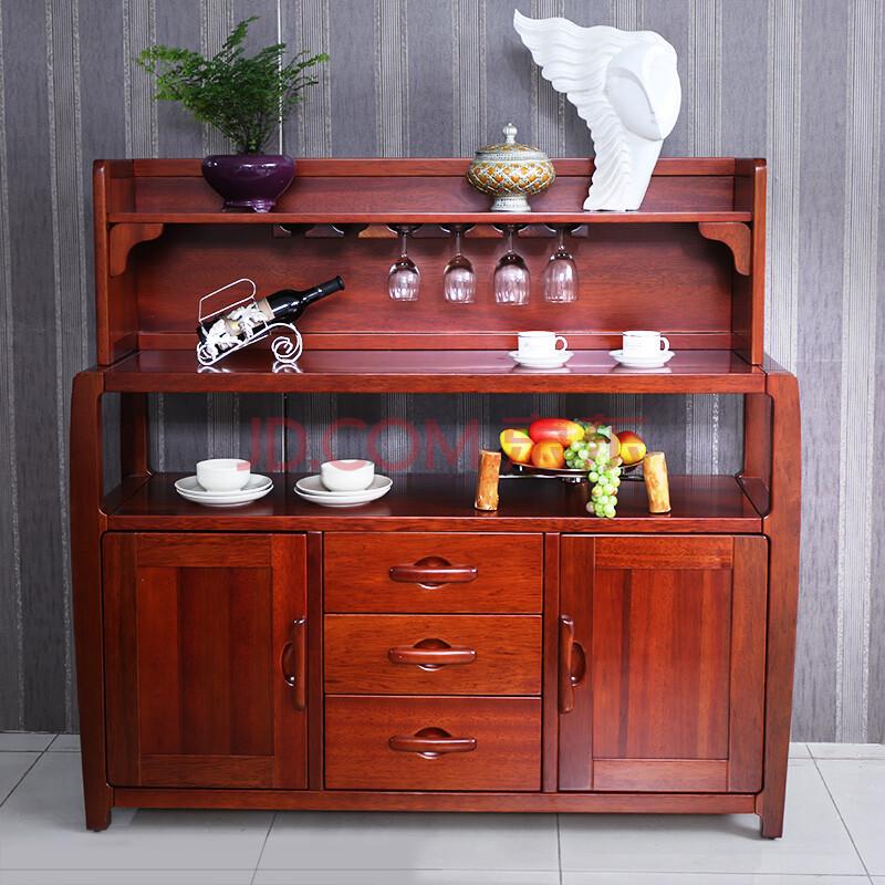 现代中式海棠木全实木餐边柜 欧式风情餐厅客厅碗柜储物柜 琥珀红 两