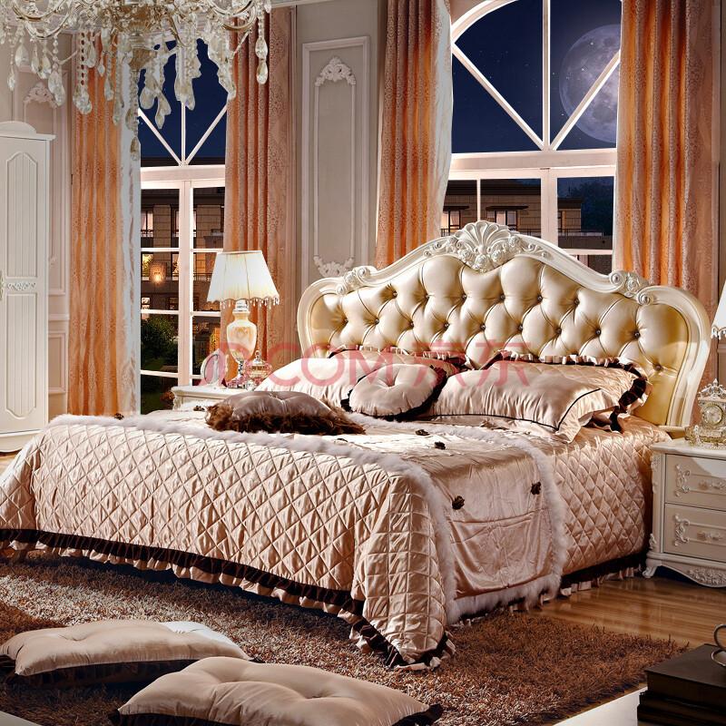 同人部落家具 床 欧式床 法式实木床 婚床 床头带皮床