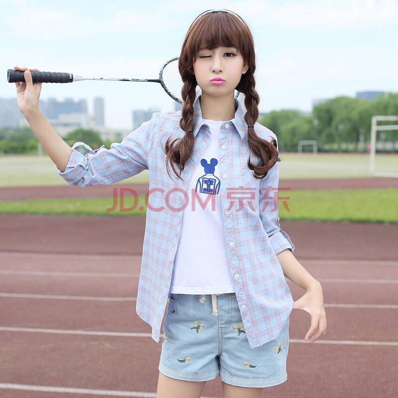 星琴少女纯棉衬衫2015新品 长袖格子衫透气修身 初高中学生夏装 蓝色图片
