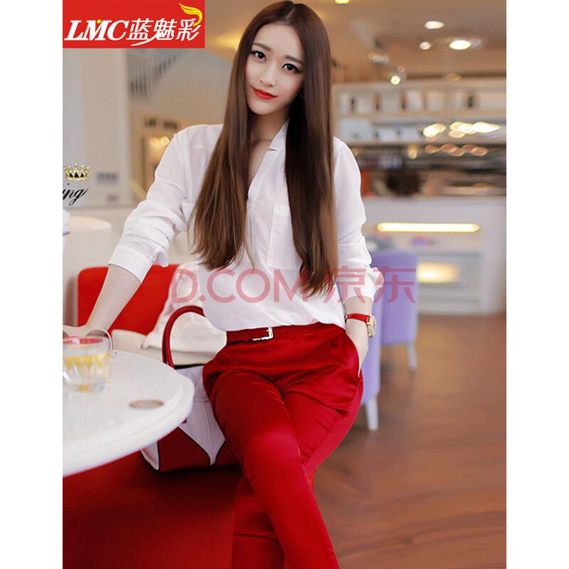 色站到_蓝魅彩 2014欧洲站新菁菁同款v领七分袖上衣红色九分小脚裤两件套装