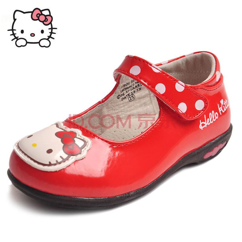 hellokitty儿童鞋舞蹈鞋女童黑色皮鞋演出鞋女童白