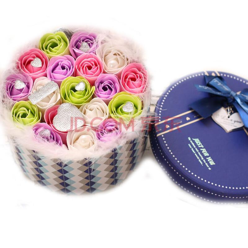 鲜花快递送女友创意礼品生日礼物巧克力花束 12朵圆盒粉 白 浅紫 绿
