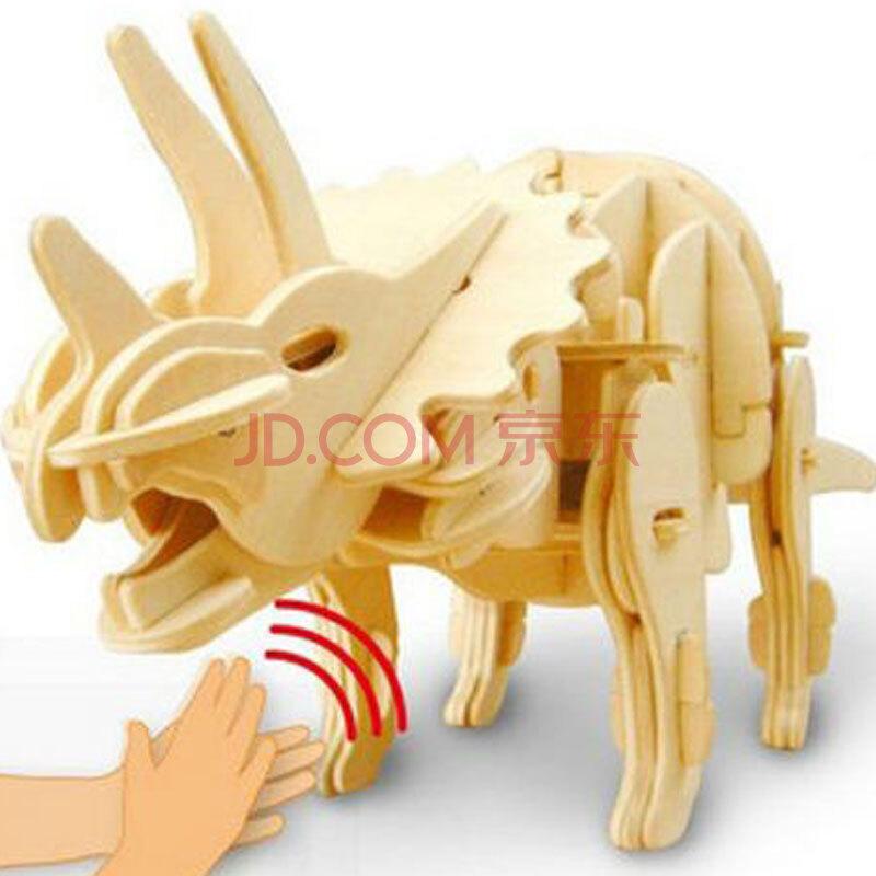 若态科技 电动恐龙模型 diy手工拼装木质玩具 行走吼叫三角龙礼盒d430