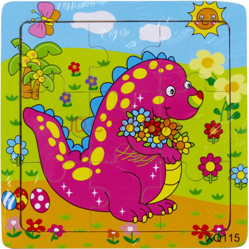 9片儿童拼图益智玩具木质拼图动物卡通动漫早教益智