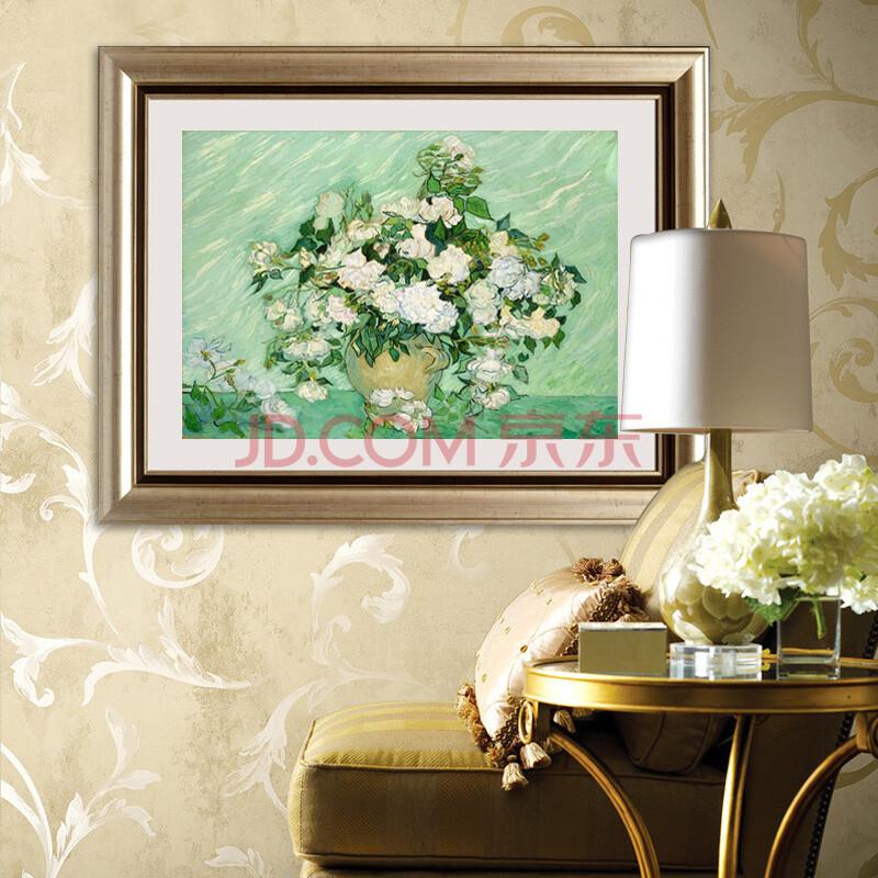 乐逸 客厅装饰画欧式有框画餐厅壁画玄关挂画梵高油画 白玫瑰横版 50x图片