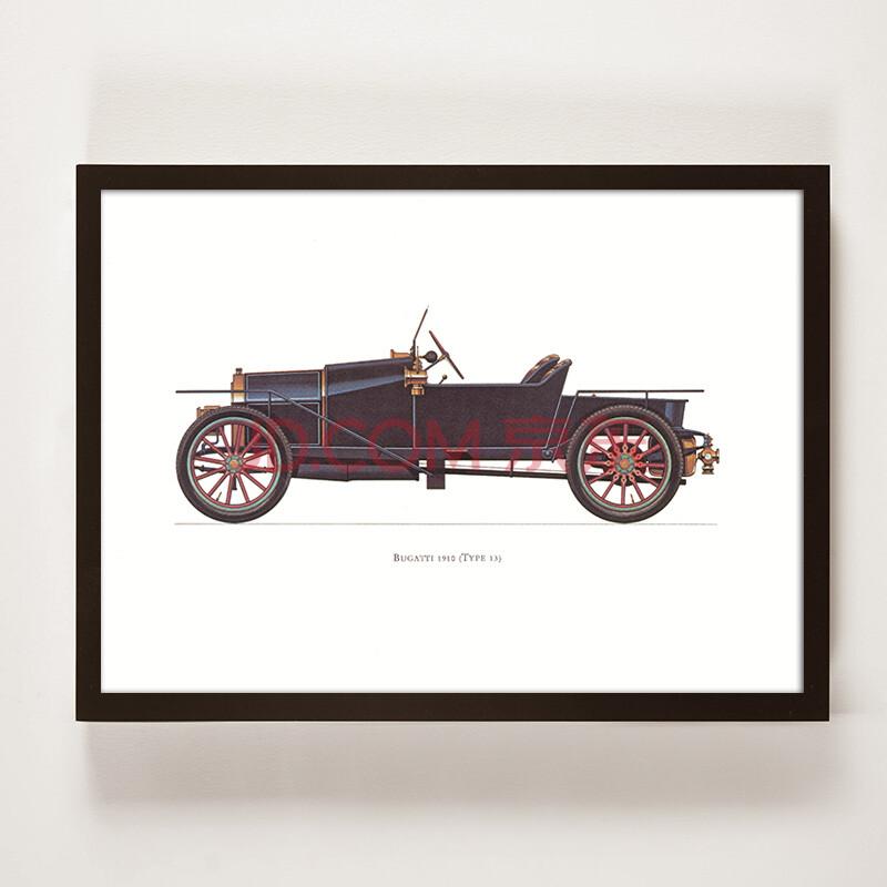 手绘图纸有框装饰画 工业风书房背景墙挂画壁画老爷车