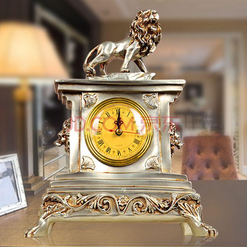 欧式家居装饰品摆件 客厅时尚创意工艺品 实用钟表狮子 王者时钟