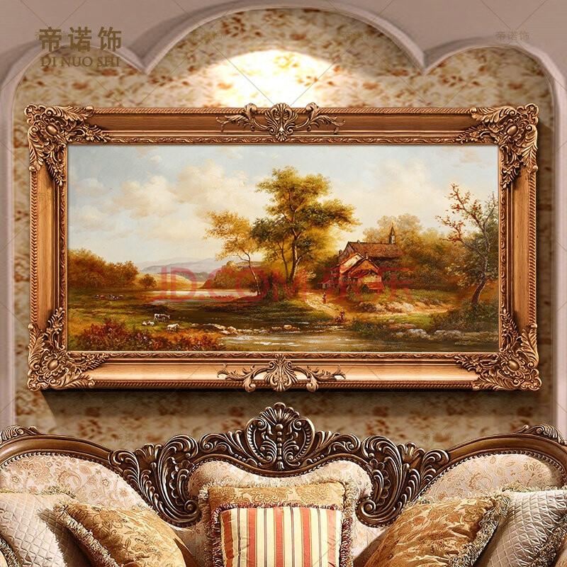 帝诺饰 欧式纯手绘乡村风景油画书房壁画客厅挂画沙发背景装饰画 sh